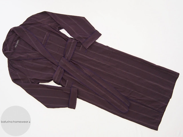 Mens Classic Tailored Silk Dressing Gown Burgundy Purple Striped Long Lightweight Summer Robe.