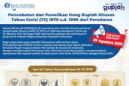 Bank Indonesia Cabut 20 Jenis Pecahan Uang Rupiah Khusus Emisi 1970 hingga 1990