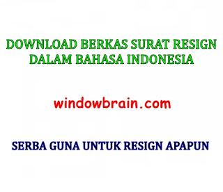 DOWNLOAD BERKAS CONTOH SURAT RESIGN BAHASA INDONESIA