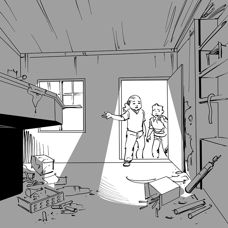 kid's children's picture book black and white line drawing illustration cartoon boy and girl in tree house laboratory