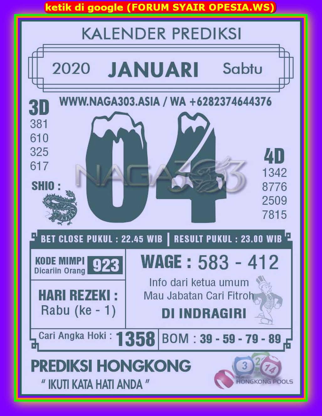 Kode syair Hongkong Selasa 4 Februari 2020 128