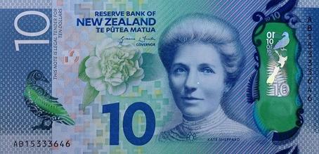 Kate Sheppard na nota de 10 dólares da Nova Zelândia