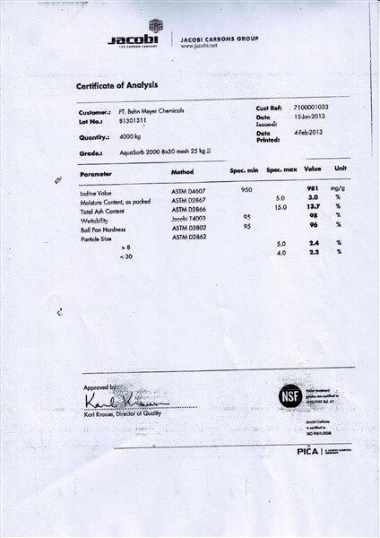 Certificate of Analysis (COA) Karbon Aktif Jacobi AquaSorb 2000