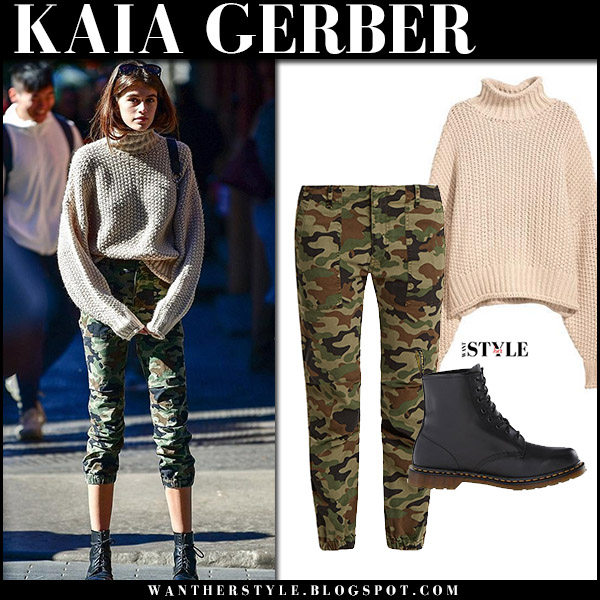 Kaia Gerber in beige knit sweater h&m and camouflage print pants nili lotan model fall fashion october 20 2017