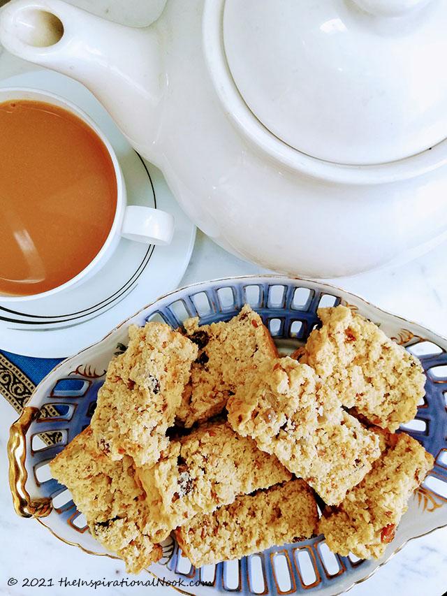 South African buttermilk muesli rusk, karringmelk beskuit, beskuit, coffee, with nuts, raisins, self-rising flour