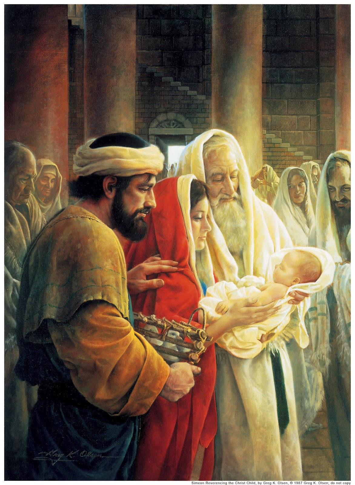 The Holy Spirit moved old Simeon, a 'saint' in Jerusalem, to visit the temple, where eight-day old Jesus was brought by Mary and Joseph to be circumcised according to the law.