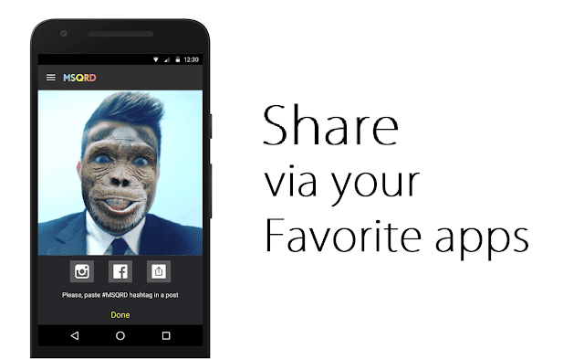 msqrd app share via your favorite app
