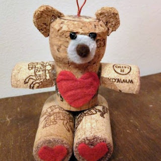 Wine cork Valentine bear