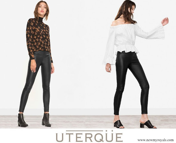 Queen Letizia wore Uterque  Black leather pants