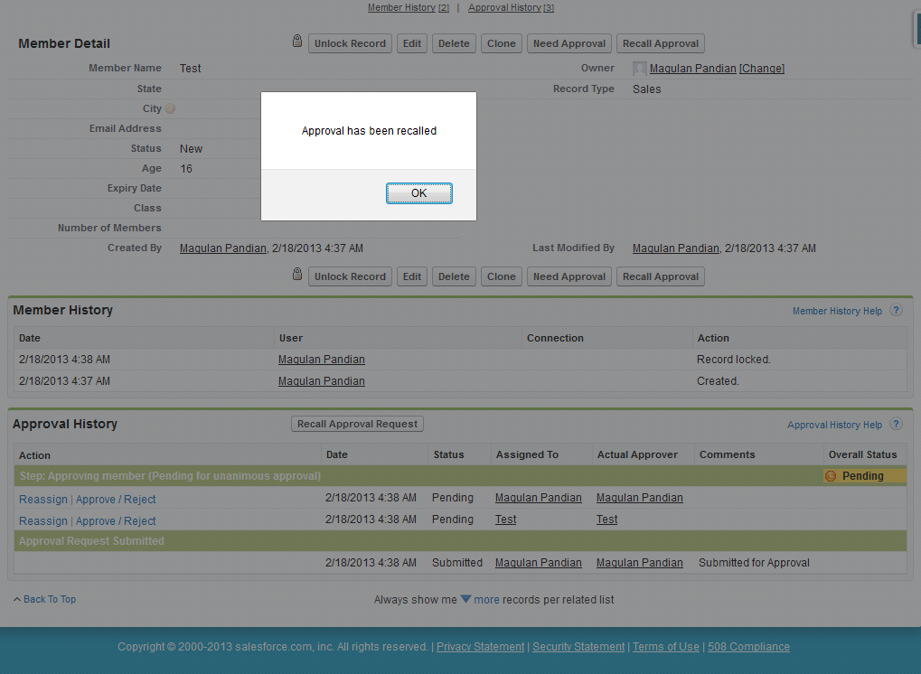 Infallible Techie: How to recall a approved record in Salesforce?
