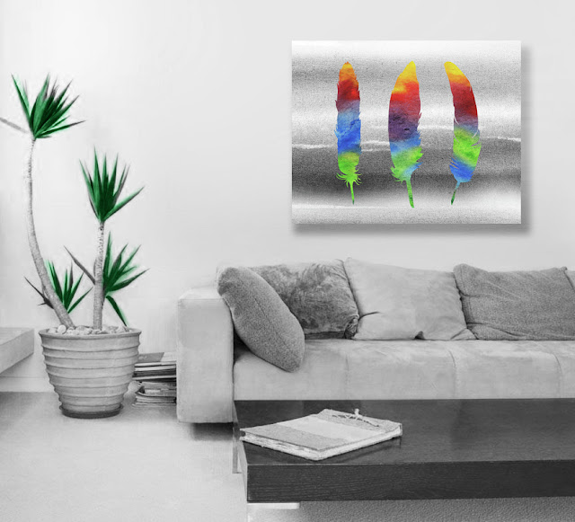 Watercolor Feathers Painting in interior decor artist Irina Sztukowski