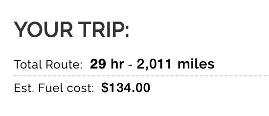 Road trip mileage #1