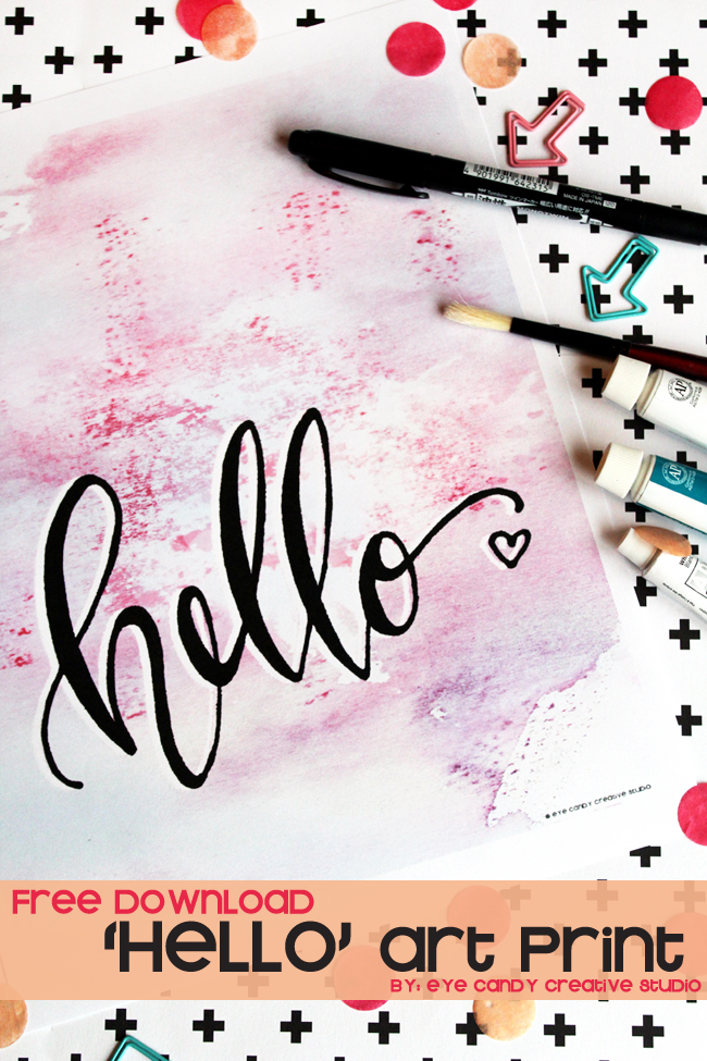 watercolor, hand lettering, HELLO, art print, tombow pen, free download