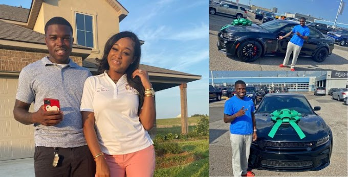 Lady gifts her husband an expensive car (photos/video)