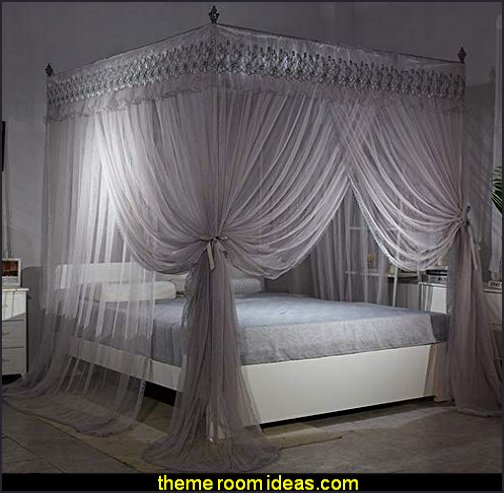 hollywood Gray 4 Post Bed Curtain Canopy Mosquito Netting Bed Canopies