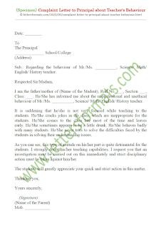 complaint letter to principal about teacher behaviour