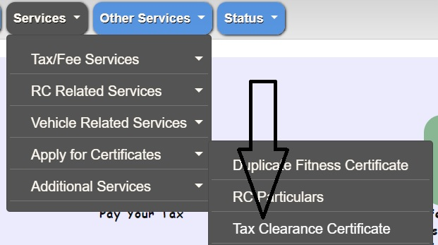 vahan service tax paid certificate