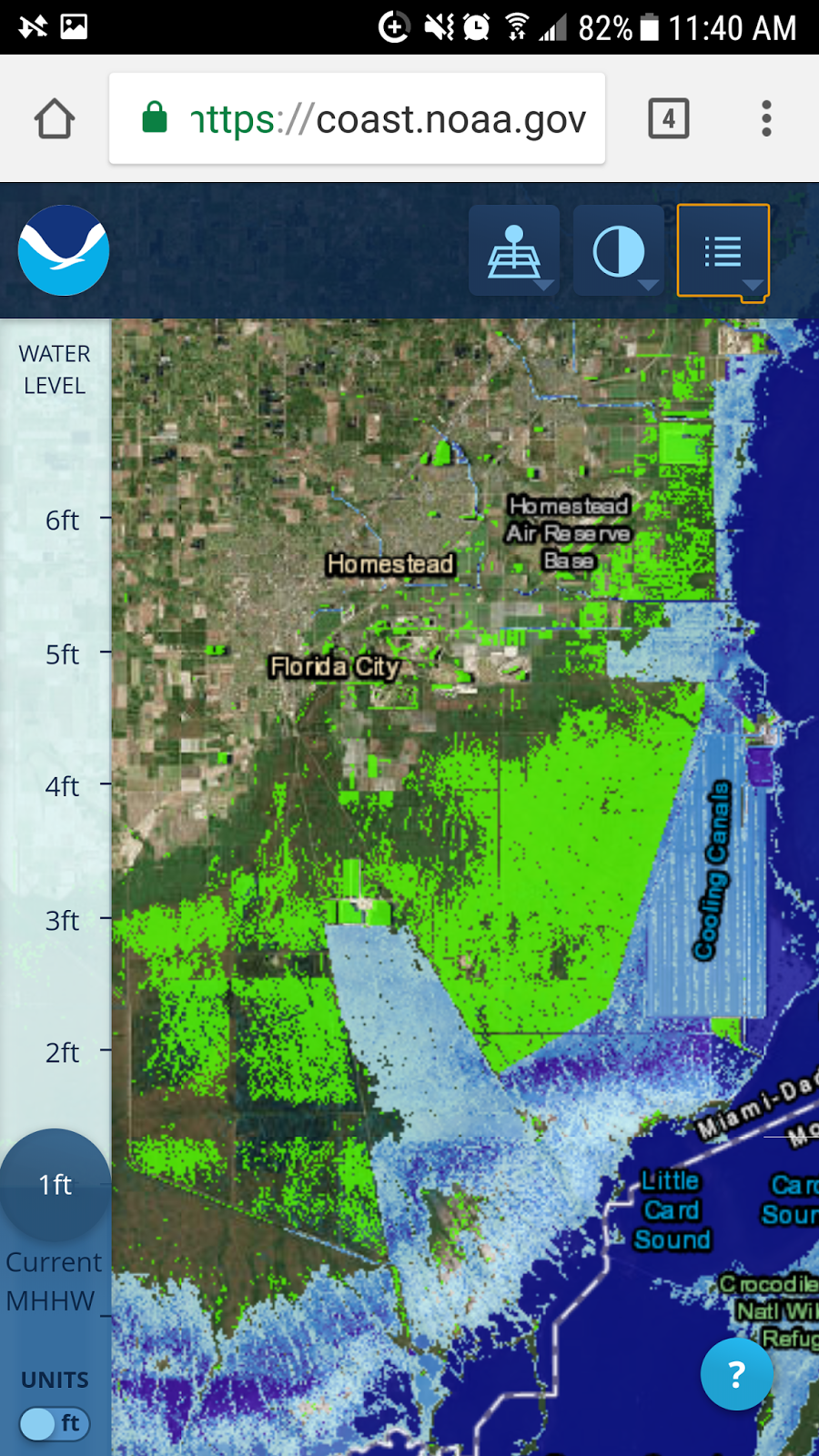 noaa map just 12 rise in sea level