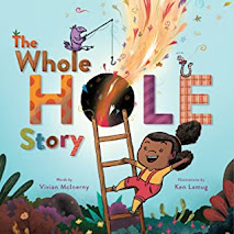 A young Black girl is climbing a ladder that leads to a hole. There is confetti type things and colorful air breezing out of the hole.
