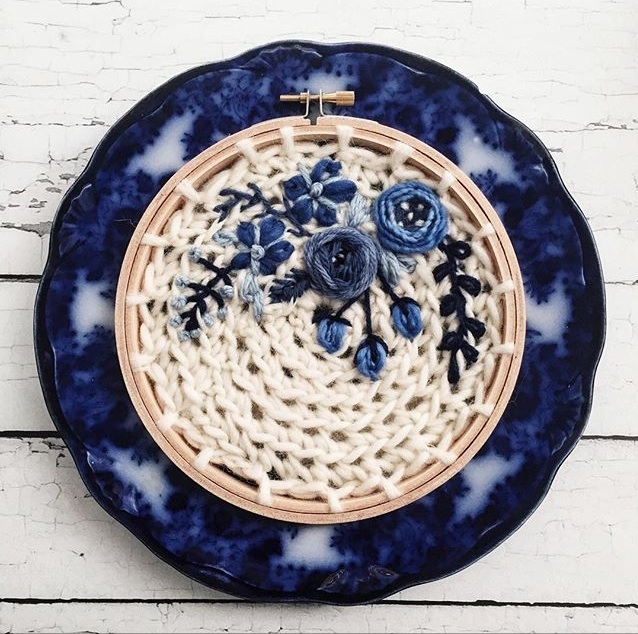 OandYStudio, Andrea from OandYStudio, hoop art, wool hoop art, handmade hoop art, handmade wool hoop art, transferware, blue flow transferware, vintage flow transferware, vintage blue flow transferware