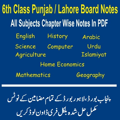 6th Grade All Punjab Lahore Board PDF Notes