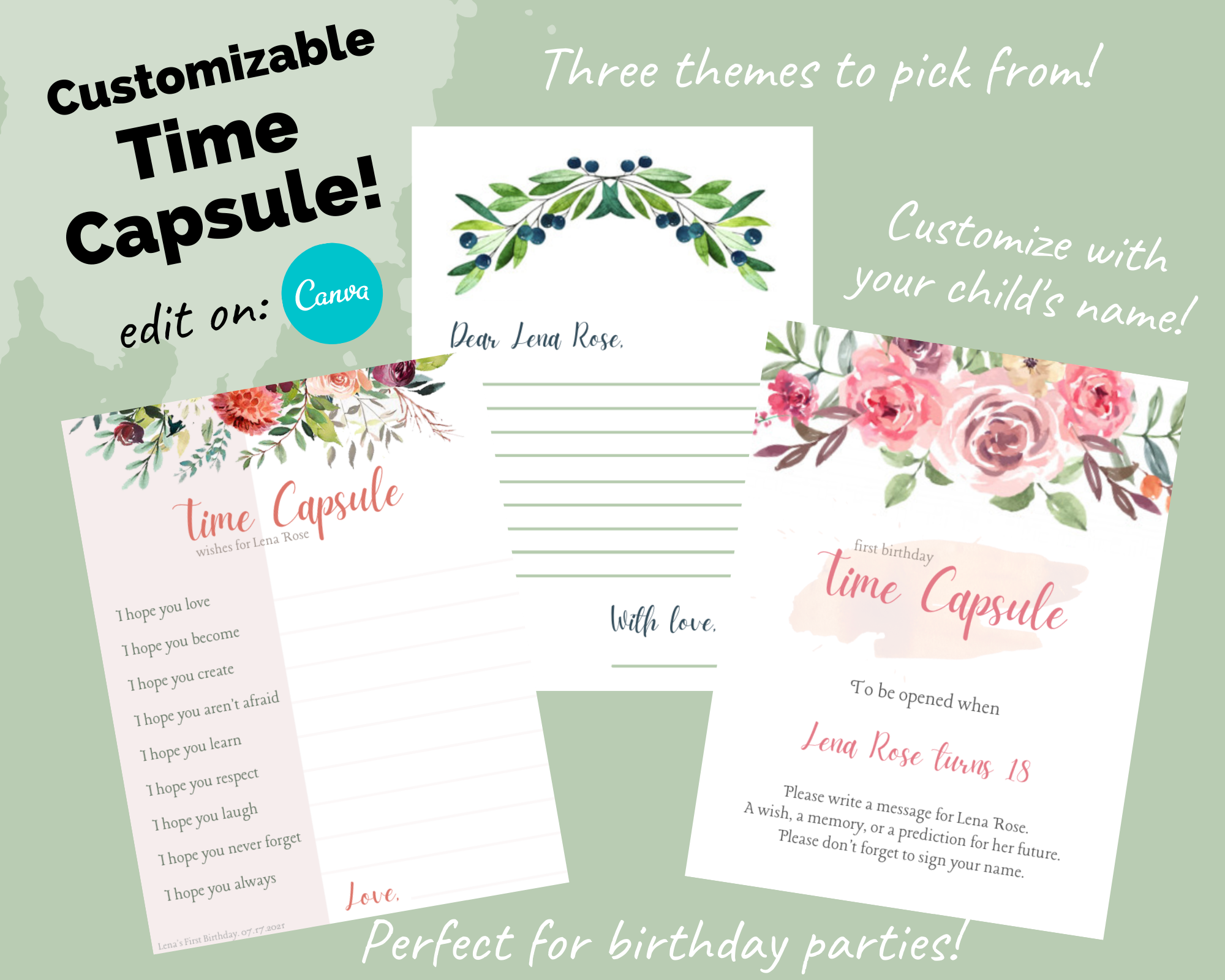 Editable Time Capsule Template First Birthday Party Printables Sweet Softies Amigurumi And Crochet