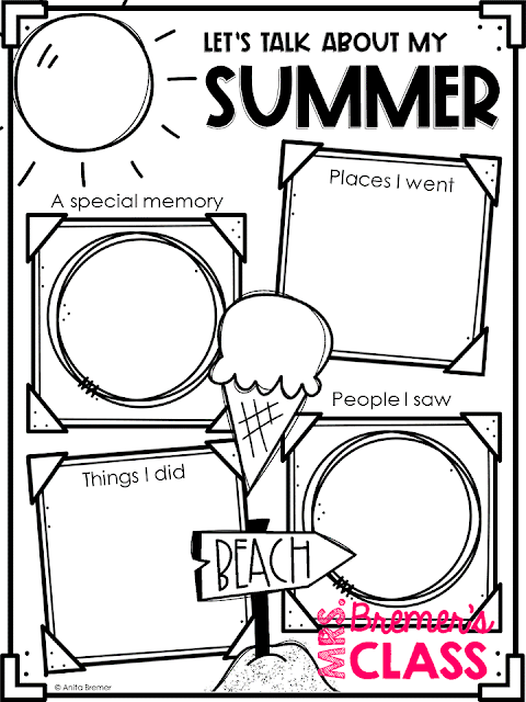 A perfect BACK TO SCHOOL activity! Encourage your students to share about their summer vacations by having them fill in this free resource! You may choose to have students draw or write in the spaces, providing differentiated opportunities to those who need it. Makes a sweet bulletin board! #backtoschool #freebie #kwriting #1stgradewriting #writing #literacy #education #kindergarten #1stgrade