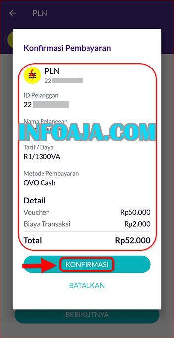 Pembayaran Token PLN di OVO