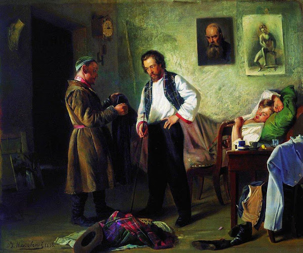 Маковский Владимир Егорович - Художник, продающий старые вещи татарину (Мастерская художника). 1865