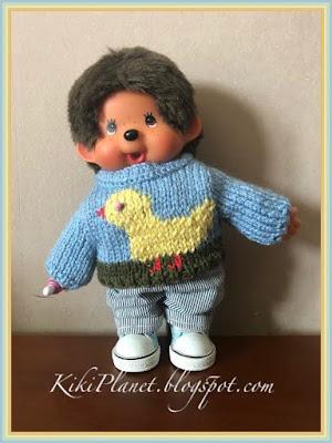 kiki monchhichi handmade pull fait main tricot knitting dolls poupée vêtement clothes