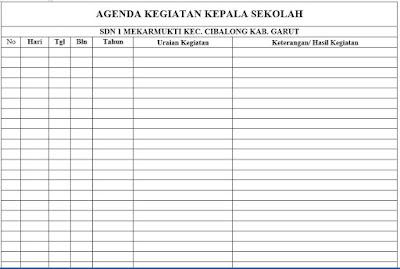 Format Buku Agenda Kegiatan Kepala Sekolah, https://bloggoeroe.blogspot.com/