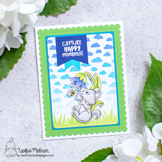 Capture Happy Moments Cat Card by Zsofia Molnar | Captivated Kittens Stamp Set, Petite Clouds Stencil, Land Borders Die Set, Frames & Flags Die Set and Hills & Grass Stencil by Newton's Nook Designs #newtonsnook