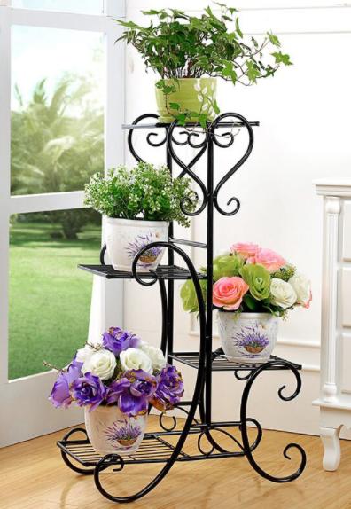 model rak bunga dari kayu dan besi terbaru