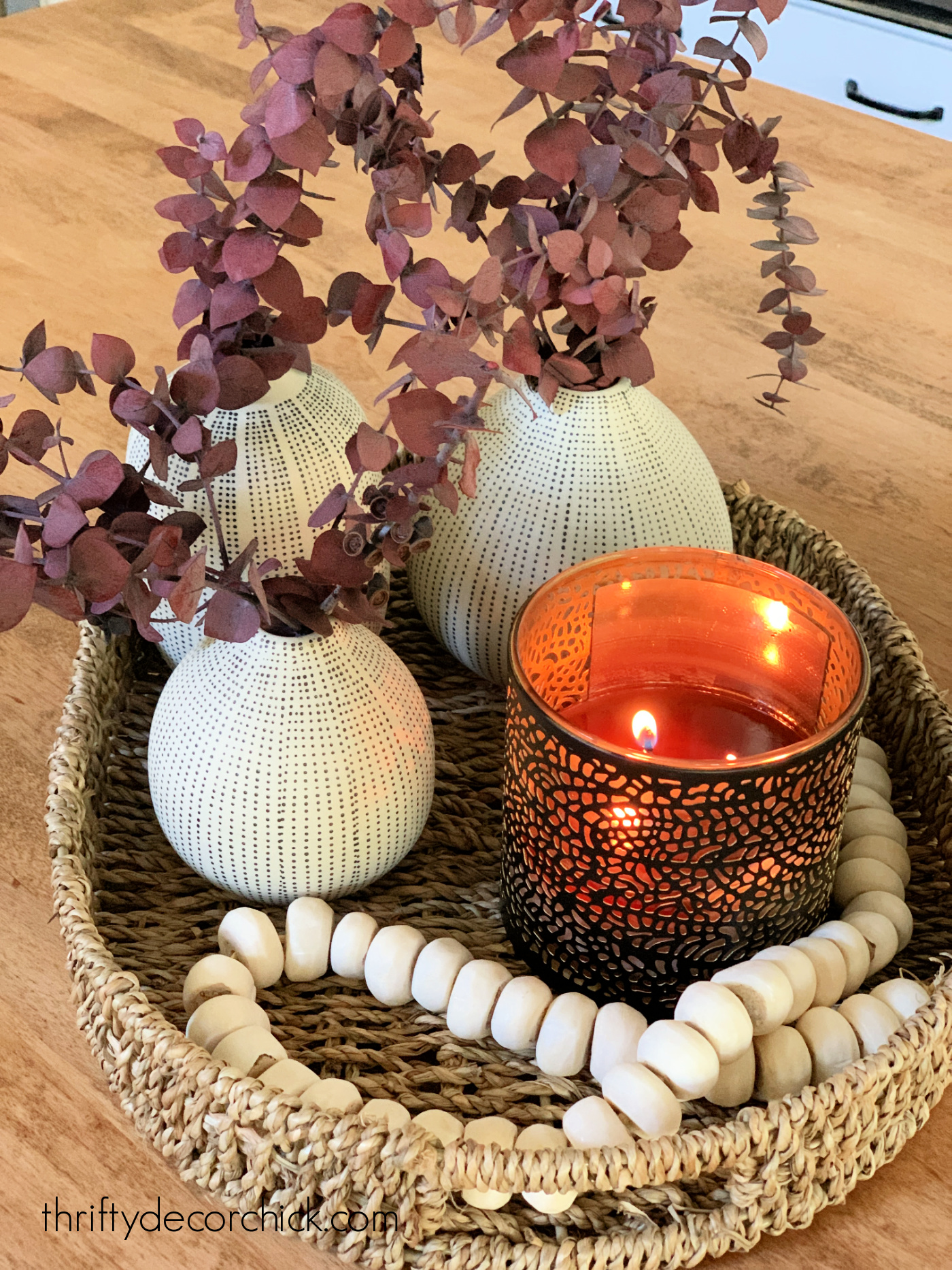 Easy fall decor in tray or basket