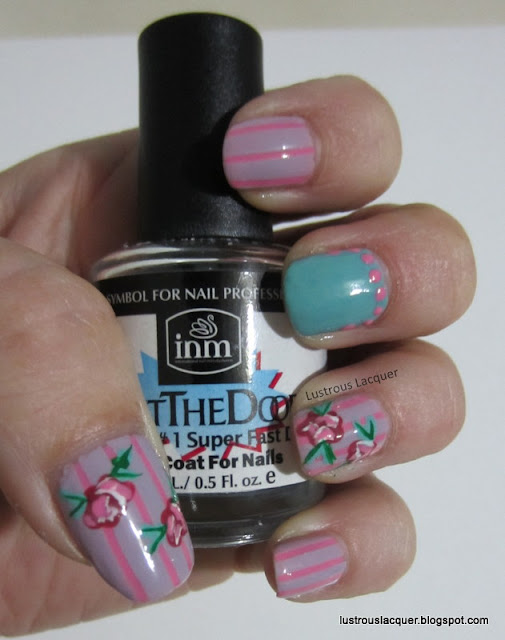 Vintage Rose Manicure, Nail Art, Striping tape