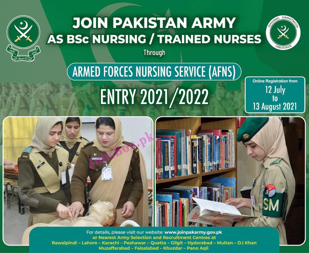 Pak Army Nursing Jobs 2021 - Pak Army through AFNS Jobs 2021 in Pakistan