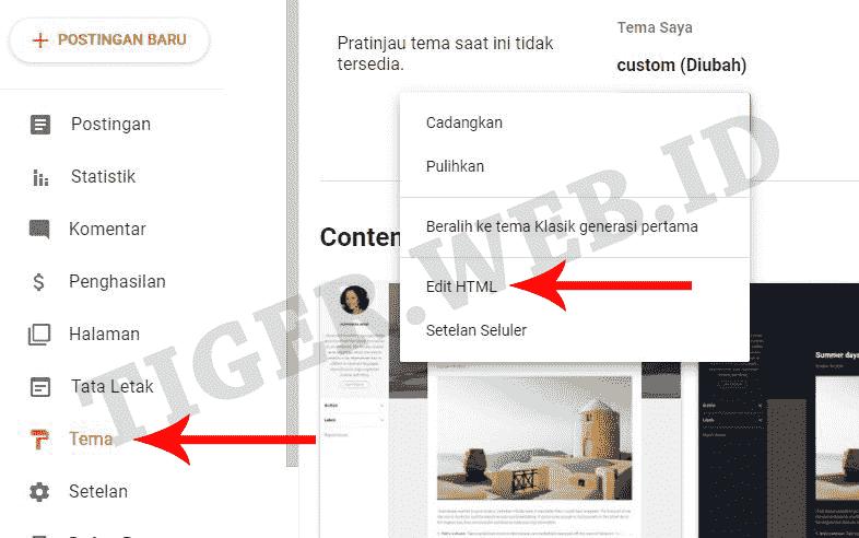 Tema ke edit HTML