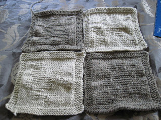 4 knitted squares