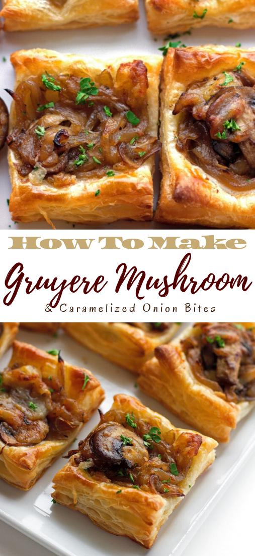 Gruyere Mushroom & Caramelized Onion Bites #food #lunchrecipe #vegan #vegetarianrecipe #easyrecipe