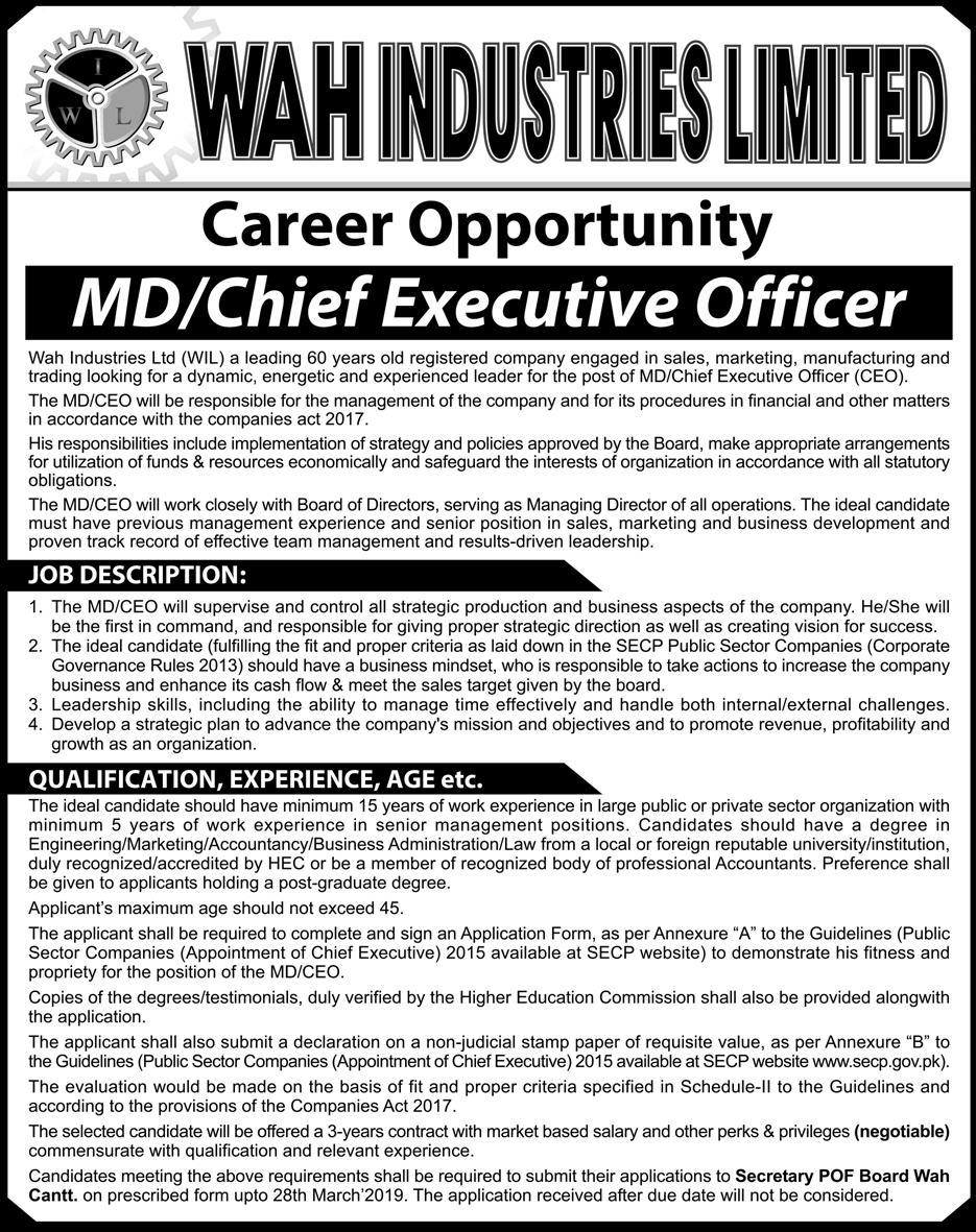 Advertisement for Wah Industries Jobs