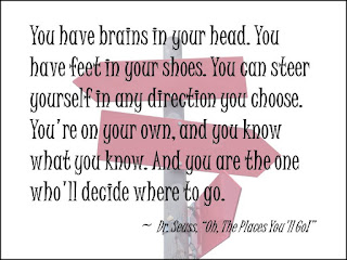 Dr Seuss quote from Oh, The Places You'll Go