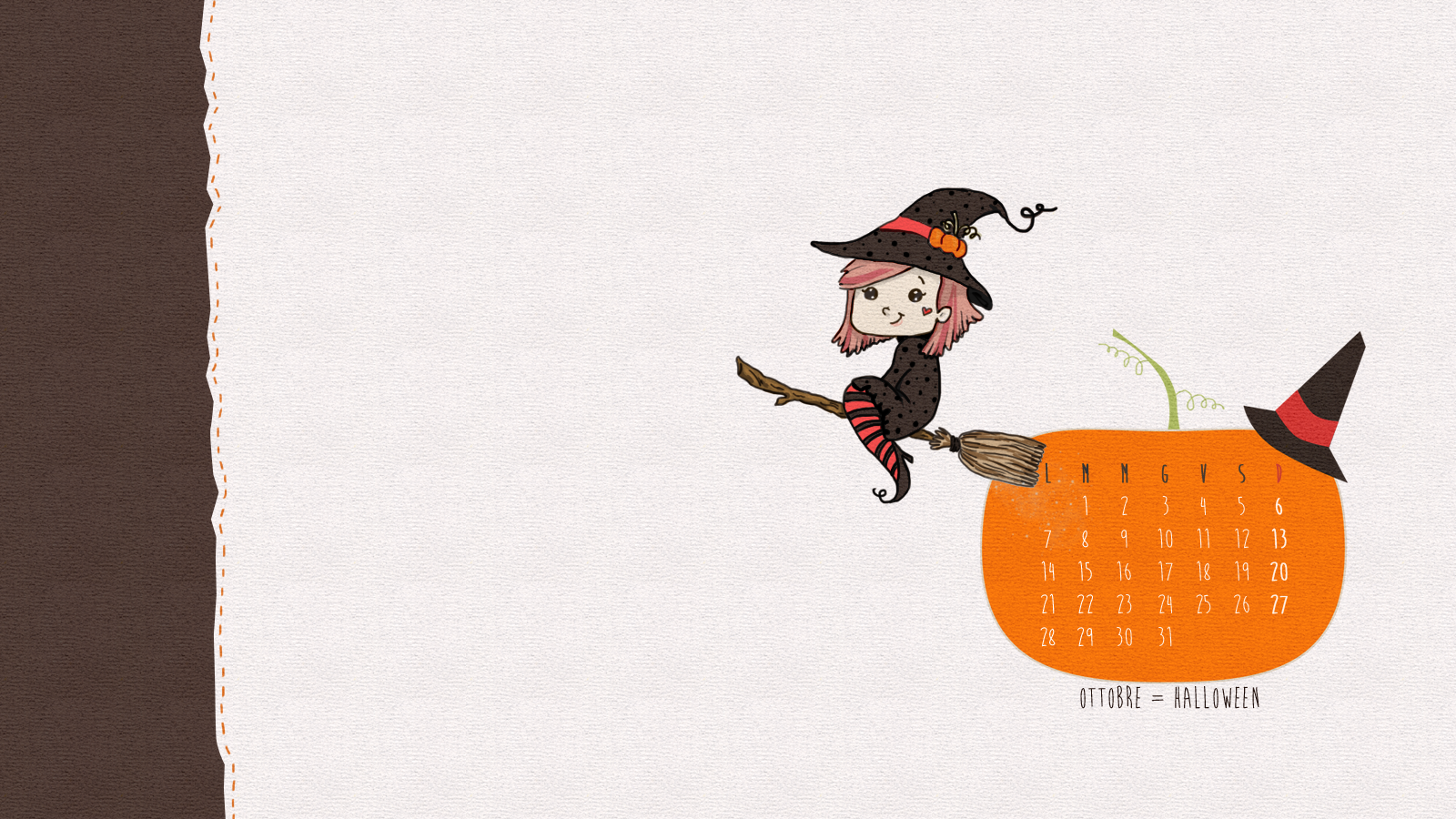 freebies: sfondo desktop per Halloween con calendario