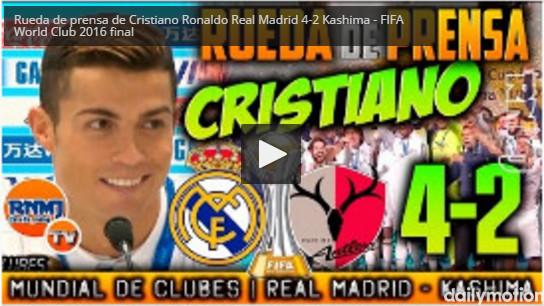 Rueda de prensa de Cristiano Ronaldo Real Madrid 4-2 Kashima | FIFA World Club 2016 final