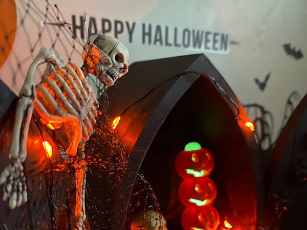 Halloween Diorama Box From Upcycled Display Shelf