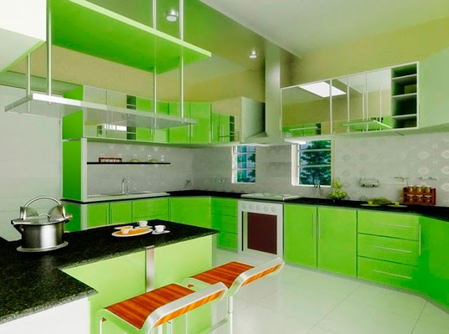 Model Desain Kitchen Sets Hijau