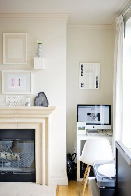 beige, modern and clean home office corner