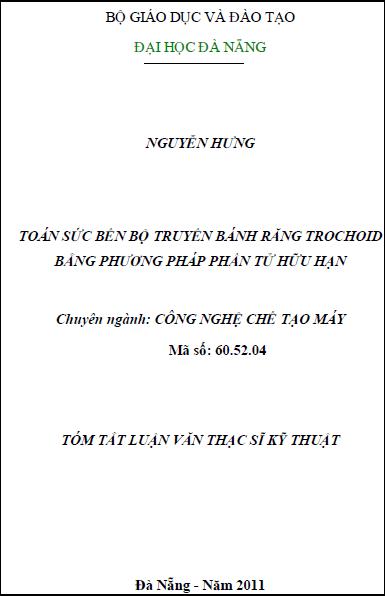 Toán sức bền bộ truyền bánh răng trochoid bằng phương pháp phần tử hữu hạn
