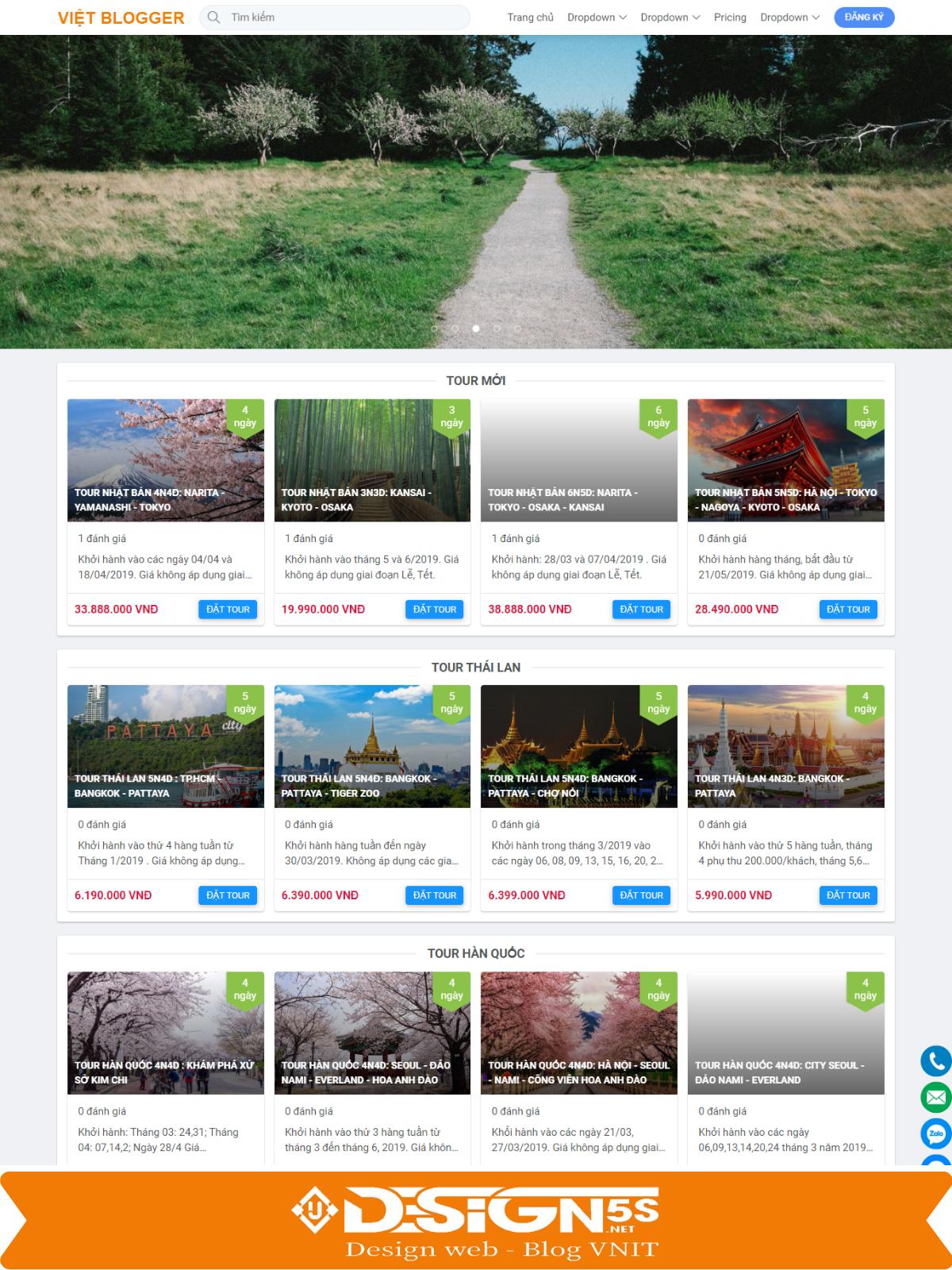 Giao diện blogspot đặt du lịch book tour online tuyệt đẹp