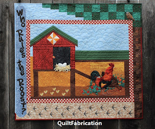 WHO RULES THE ROOST-CHICKEN QUILT-CHICKEN COOP-HEN HOUSE-ROOSTER-WALL HANGING