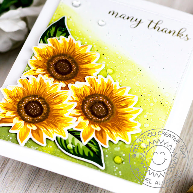 Sunny Studio Stamps: Sunflower Fields Thank You Card by Rachel Alvarado